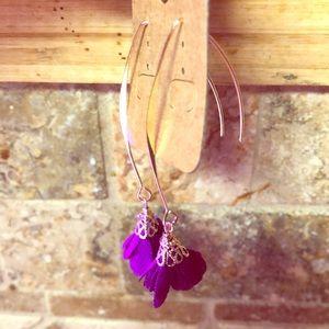 Beautiful dangling flower earrings